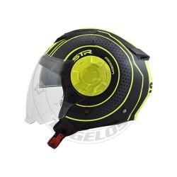 Κράνος STR Tron Χρώμα Μαύρο-Κίτρινο Ματ