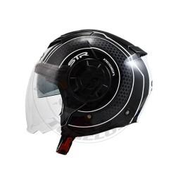 Κράνος STR Tron Χρώμα Μαύρο-Λευκό Γυαλιστερό