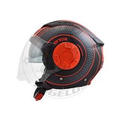 Κράνος STR Tron Χρώμα Μαύρο-Κόκκινο Ματ
