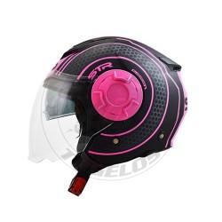 Κράνος STR Tron Χρώμα Μαύρο-Ροζ Ματ