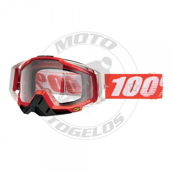 Γυαλιά The Racecraft Fire Red Χρώμα Ασπρο/Κόκκινο με Κόκκινο/Άσπρο Λάστιχο 100%